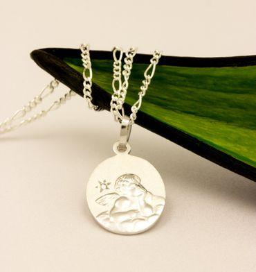 ASS 925 Silber Anhänger Engel,Schutzengel,gesandelt, oval,14mm, mit Diamant (Brillant),0,005ct,Gott schütze dich – Bild 3