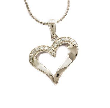 ASS 925 Silber Anhänger Herz 17mm rhodiniert mit Zirkonia weiß Kettenanhänger Herzanhänger – Bild 1
