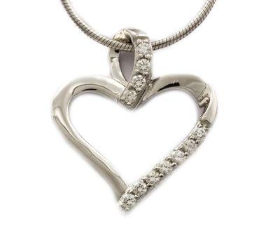 ASS 925 Silber Anhänger Herz 16mm rhodiniert mit Zirkonia weiß Kettenanhänger Herzanhänger – Bild 1