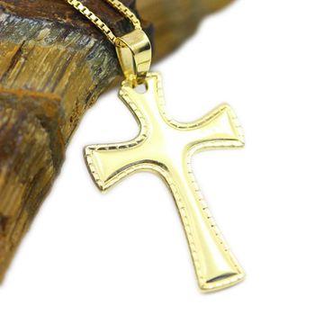 ASS 925 Silber Anhänger Kreuz im SET mit Venezianerkette, vergoldet – Bild 1