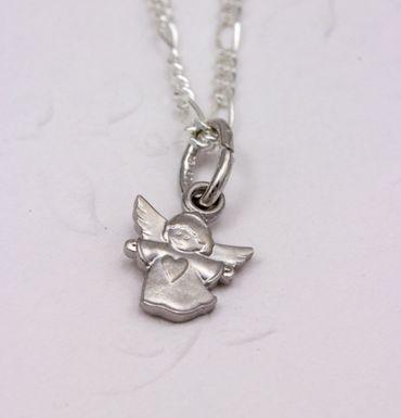 ASS 925 Silber Anhänger Engel mit Herz ,mattiert Schutzengel Kettenanhänger 13mm mit Kette – Bild 3