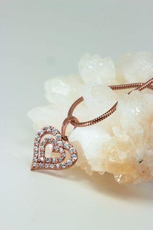 Silber Anhänger  Herz rosé mit 32 Zirkonia – Bild 5