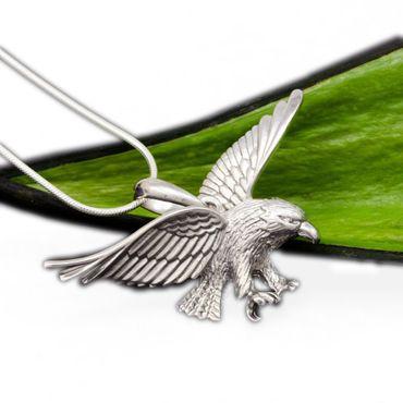 Silber Männer Herren Anhänger Adler Kettenanhänger Glücksbringer  poliert/strukturiert – Bild 1