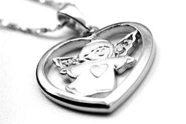 ASS 925 Silber Anhänger Herz Engel Schutzengel mit 2 Zirkonia zur Kommunion Konfirmation – Bild 5