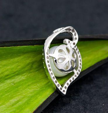 ASS 925 Silber ANHÄNGER mit Perle weiß 10mm und Zirkonia – Bild 4