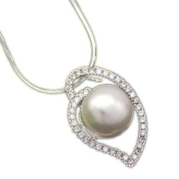 ASS 925 Silber ANHÄNGER mit Perle weiß 10mm und Zirkonia – Bild 1
