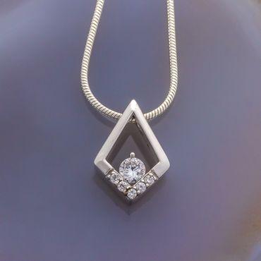 925 Silber ANHÄNGER Rhombus mit Zirkonia weiß – Bild 2