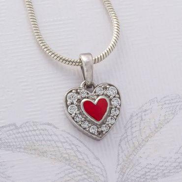 925 Silber Anhänger Herz mit Zirkonia und rot lakiert – Bild 2