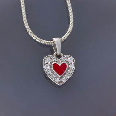 925 Silber Anhänger Herz mit Zirkonia und rot lakiert – Bild 4