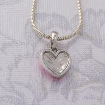 925 Silber Anhänger Herz rosa gelackt – Bild 3