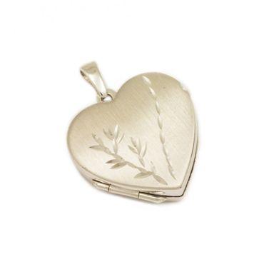 ASS 925 Silber Medaillon Herz Anhänger Foto mattier, graviert, mit floralem Muster,rhodiniert – Bild 1