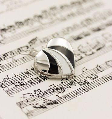 ASS 925 Silber Medaillon  Anhänger Foto Herz lackiert weiß/dunkelgrau/schwarz – Bild 4
