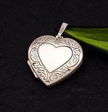 ASS 925 Silber Großer Anhänger Medaillon Herz  mit floralem Muster – Bild 3