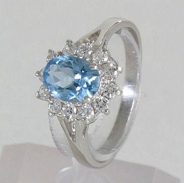 ASS 925 Silber Damen Ring Zirkonia aquamarin blau Gr.17 rhodiniert – Bild 3