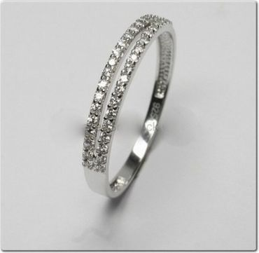 ASS 925 Silber Damen Memory Ring mit 38 Zirkonia Gr.18 Memoryring. neu – Bild 2