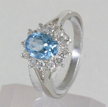 ASS 925 Silber Damen Ring Zirkonia aquamarin blau Gr.18 – Bild 3