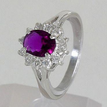 ASS 925 Silber Damen  Ring  Zirkonia Amethyst lila Gr.17 – Bild 2