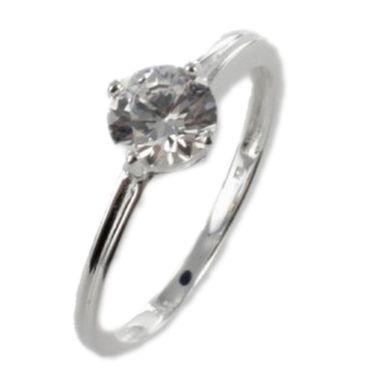 Silber Damen  Ring mit Zirkonia Solitär Zirkonia Gr.17 – Bild 1