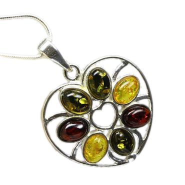 Silber Große Anhänger Herz filigran mit Bernstein Multicolor  im Schmuckset mit Schlangenkette Amber – Bild 1