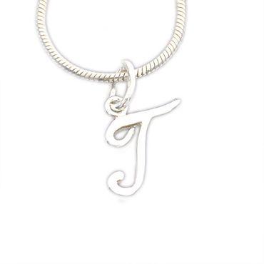 Silber Buchstabenanhänger Anhänger Buchstabe T kursiv, NEU – Bild 1