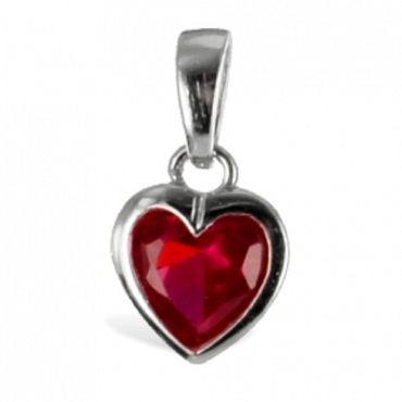 ASS 925 Silber Anhänger Herz mit Zirkonia rubinrot – Bild 1