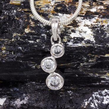 ASS 925 Silber Anhänger mit 3 Zirkonia weiß  – Bild 5