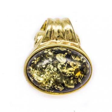 ASS 925 Silber ANHÄNGER Ovalform Bernstein grün vergoldet mit Kette im Set Amber Unikat – Bild 1
