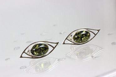 ASS Silber Damen Ohrstecker mit echtem grüne Bernstein Ovalform ca 28 mm. NEU – Bild 3