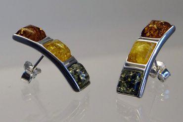 ASS 925 Silber Damen Ohrringe Ohrstecker mit 3 Bernsteinen Multicolor in quadratische Form – Bild 4