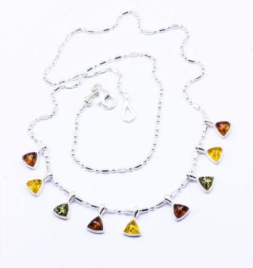 ASS 925 Silber Collier Kette Halsreif mit natur Bernstein Multicolor Amber  – Bild 2