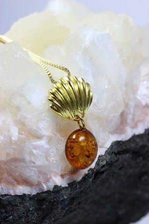 ASS 925 Silber ANHÄNGER Bernstein cognac vergoldet Amber Unikat – Bild 4