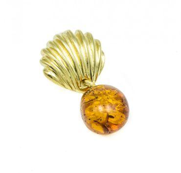 ASS 925 Silber ANHÄNGER Bernstein cognac vergoldet Amber Unikat – Bild 1