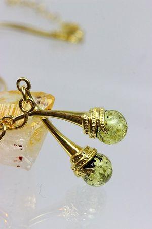 ASS 925 Silber ANHÄNGER mit Bernstein grün im SET mit Schlangenkette vergoldet Amber Unikat – Bild 5