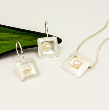 ASS 925 Silber Schmuck-Set Anhänger Ohrstcker Ohrhacken Ohrringe Quadratform mit Perlen – Bild 4