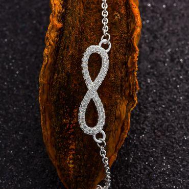 ASS 925 Silber Damen Mädchen Halskette mit Unendlichkeitszeichen mit Zirkonia 42 cm – Bild 5