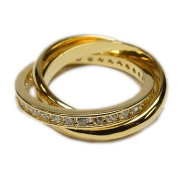 ASS Gold Double Damen Ring mit Zirkonia, dreier Ring 3-er Gr.17 vergoldet – Bild 1