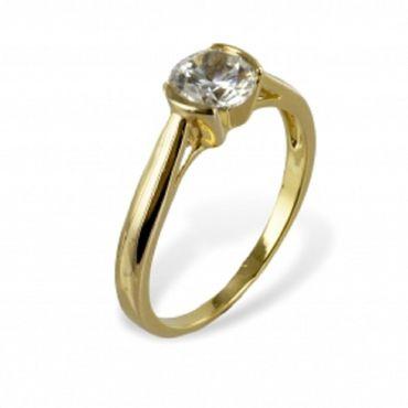 Gold Double Damen Ring mit  Zirkonia weiß 6mm  Gr.18, vergoldet 18 Kt – Bild 1