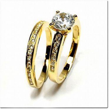 Gold Double Damen Ring -Set mit Zirkonia Gr.20 inkl.Memoryring,vergoldet – Bild 2
