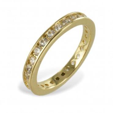 ASS Gold damen Herren Double Damen Memory Ring Zirkonia Gr.20 (63) Memoryring,vergoldet – Bild 1
