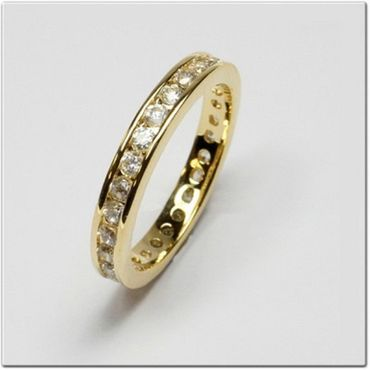 ASS Gold Double Damen Memory Ring Zirkonia Gr.18 (57) Memoryring,vergoldet – Bild 2