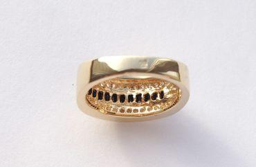 ASS Gold Double Damen Ring mit Zirkonia weiß und schwarzem Onyx Gr. 14 – Bild 3
