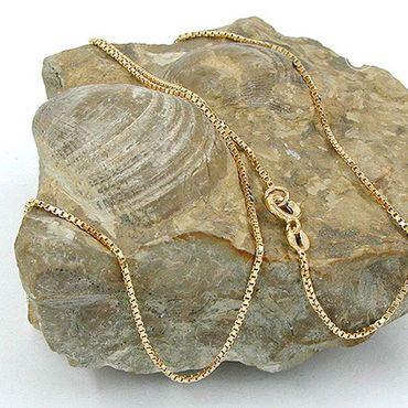 Damen Double Collier-Kette, Veneziakette mit Federring, 4-seitig diamantiert vergoldet 42cm – Bild 2
