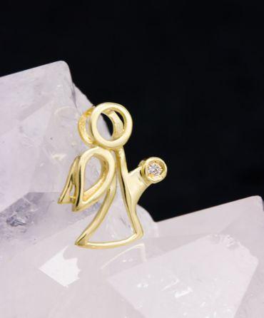 585 Gold Gelbgold Anhänger Engel Schutzengel mit Diamant,0,0075ct WSI Kettenanhänger – Bild 4