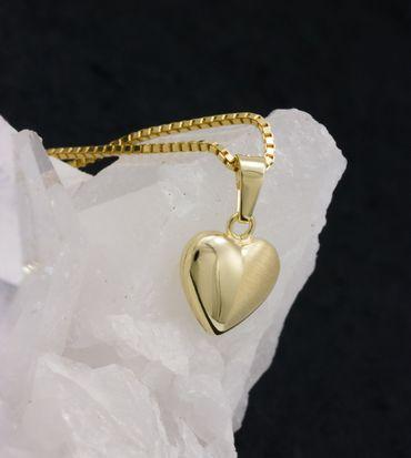 ASS 333 Gold Damen Kinder Anhänger Herz Herzanhänger 9 mm, Gelbgold mit Gold Double Kette im Set – Bild 3