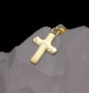 ASS 333 Gold Kommunion kleiner Kreuzanhänger Anhänger Kreuz matt/glanz mit Kette im Set – Bild 5