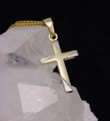 ASS 333 Gold Kommunion  Kreuzanhänger Anhänger Kreuz diamantiert,Bicolor mit Kette – Bild 3