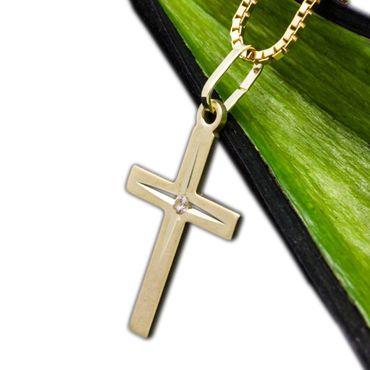 ASS 333 Gold Damen Herren Kreuzanhänger Anhänger Kreuz,diamantiert mit Zirkonia – Bild 1