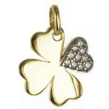 333 GoldAnhänger Einhänger Glücksanhänger Kleeblatt mit 10 Zirkonia Gelbgold