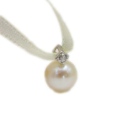 ASS 333 8K Gold Anhänger Perle mit  Brillanten Diamanten 0,02ct, Weißgold, Kettenanhänger – Bild 1