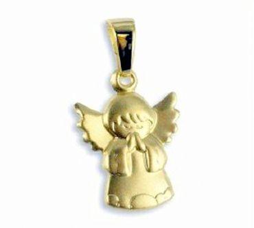 ASS 333 Gold Anhänger Engel Schutzengel , Kettenanhänger 19mm matt  – Bild 2